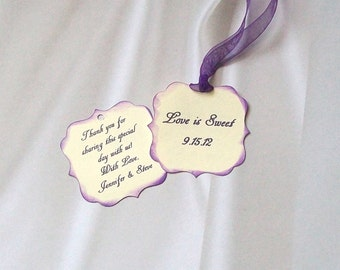 Wedding Favor or Treat Tags - Double Sided and Personalized (50)