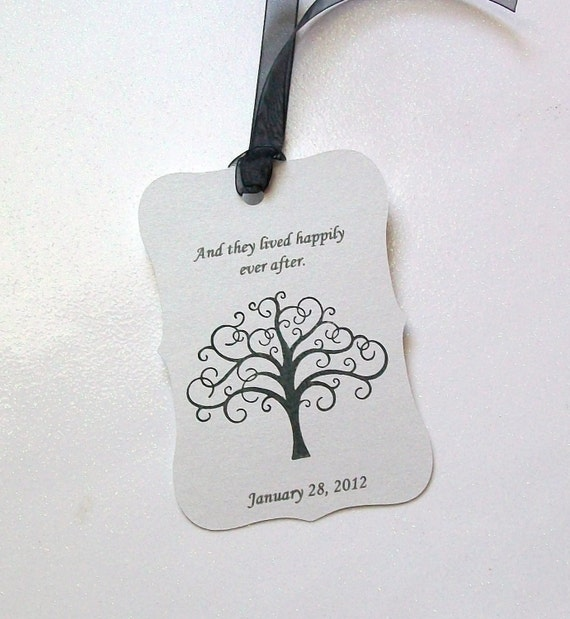 Wedding Wish Tree Tags - Scalloped And They Lived Happily Ever After with Tree (set of 50)