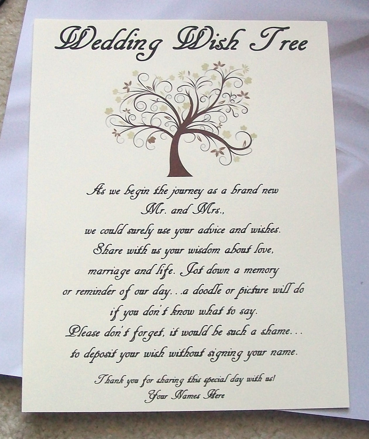 Wedding Gift Wish Poem : Wish Tree Poem Wedding Ideas Pinterest