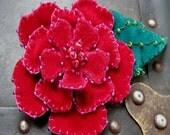 Large Red Red Rose Velvet Brooch