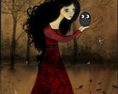 Clearance - Goth Girl and Owl Art Print -- Look Into My Eyes  8x10