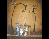 Original  Whimsical Fairytale Art Canvas Painting --11 x 14 -- Off to see the Wizard