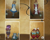 Whimsical Fairytale New Wonderland Art Mini-Prints - Alice in Wonderland Encore MIni Print Set of 4