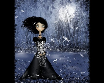 Goth Girl Art Print ---  All In The Moment --  various sizes