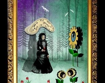 Steampunk Pop Surrealism Art Print - Shadows - Clock - Gear Flowers -Goth Girl - Dragonflies