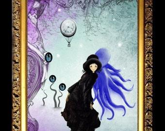 Art  Digital Painting - Steampunk Pop Surrealism Art Digital Painting - Watching You - Hot Air Balloon - Eyes - Girl - Octopus