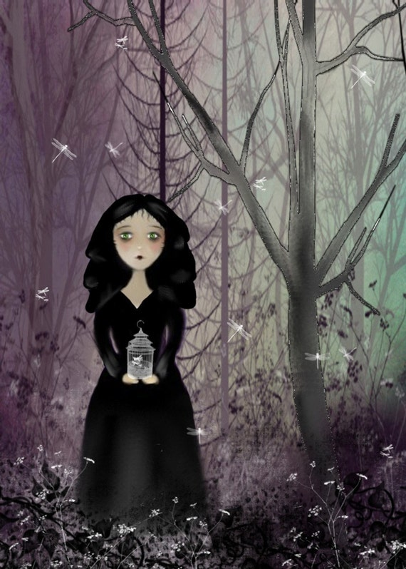 SUMMER Print   SALE  -- In the Twilight of the Evening --- Goth Girl Art Print