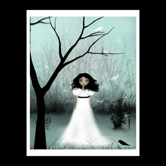 Clearance - I Will Be Your Light --- Melancholy Girl -- 8 x 10 Inch Art Print