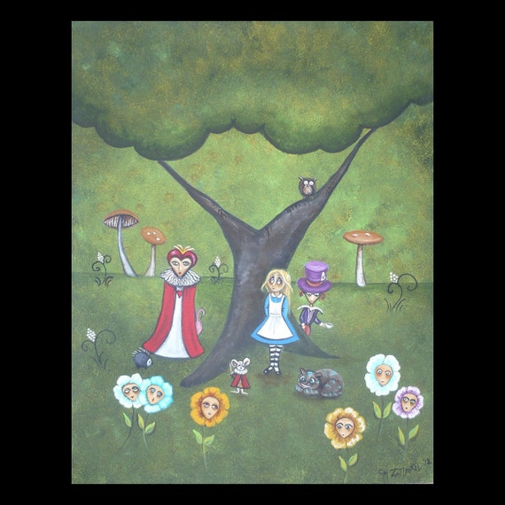 Original  Alice in Wonderland Whimsical Art Painting - Alice -  Cheshire Cat - Mad Hatter