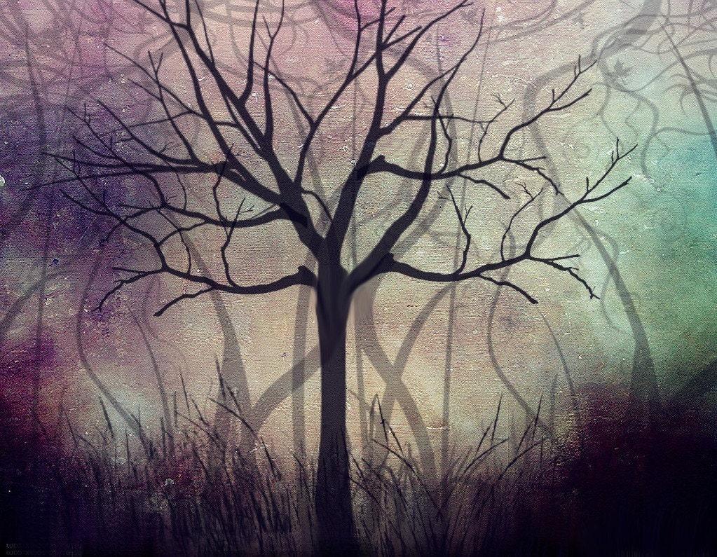 5 Dollar Print SALE TWILIGHT Dark Art Tree Print 8x10