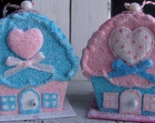 A set of Two Glitter Valentine Cupcake Cottages with Cherry on Top Ornament Aqua and Pink