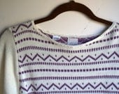 Violet and Cream Cozy Sweater
