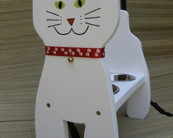 The White Raised Cat Bowl, Dish Feeder, 15 in. High, Handmade and Painted, Bob Tail