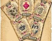 INSTANT DIGITAL DOWNLOAD - Gothic Victorian Valentine Cards - 5 Designs - Printable Grunge Antique Cards Skull Crown Sacred Heart