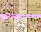 12x12 Grungy Patchwork Scrapbook Paper - Shabby Roses Digital Download - Collage - ACEO - Journal - Gift Tag - Scrapbooking - ATC