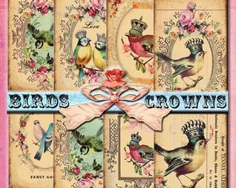 INSTANT DIGITAL DOWNLOAD - Antique Birds Crowns Roses - Set of 9 Grungy Vintage Original Designs - Printable - Gift Tag - Scrapbooking