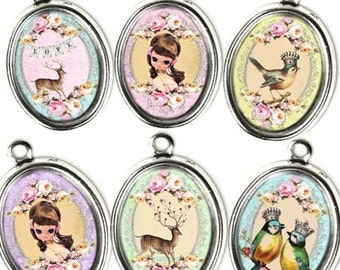 INSTANT DOWNLOAD Birds Dolls and Deer Oh My - Kawaii Printable Digital Collage Sheet - Vintage Victorian 30 x 40 mm Ovals - Pendants Jewelry