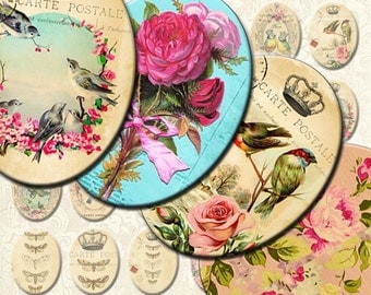INSTANT DIGITAL DOWNLOAD - Bird Queens of Paris - Printable Collage Sheet - Victorian French 30 x 40 mm Ovals - Jewelry