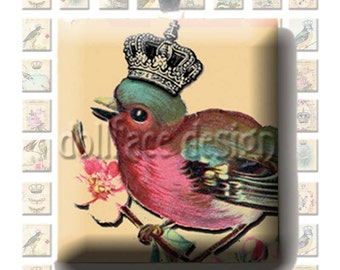 INSTANT DIGITAL DOWNLOAD - Bird Queens of Paris - Printable .75 x .85 inch Squares Scrabble Tile Pendants - French Victorian - Jewelry