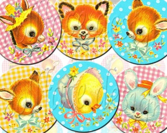 INSTANT DIGITAL DOWNLOAD - Kawaii Retro Vintage Baby Animals - Bunny Lamb Deer - 1 inch circles - Pendants Jewelry Charms Necklaces