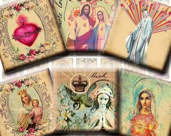 INSTANT DIGITAL DOWNLOAD - Virgin Mary Religious Icons - 1 Inch Squares - Printable Original Collage Designs -  Pendants Jewelry Necklaces