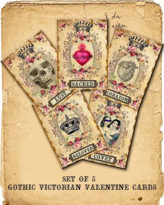 INSTANT DIGITAL DOWNLOAD Gothic Victorian Valentine Cards