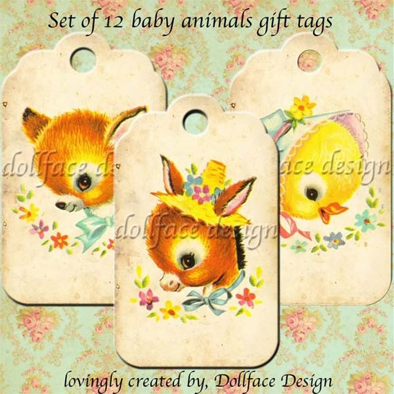 INSTANT DOWNLOAD - Kawaii Vintage Baby Animals Gift Tags - Printable Digital Journal Tags - Scrapbooking - Gift Tags