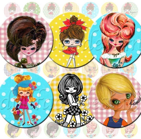 INSTANT DIGITAL DOWNLOAD - Retro Mod 70's Big Eyed Pose Dolls - Printable Collage Sheet - 1 Inch Circles Jewelry - Gingham Polka Dots