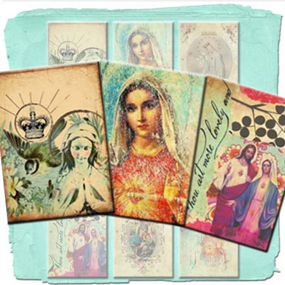 INSTANT DIGITAL DOWNLOAD Set of 9 Printable Religious Holy Card Gift Tags - Blessed Virgin Mary Religious Icons - Original Art Collage