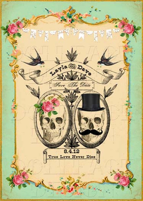 Printable Save The Date Cards Digital Download Gothic