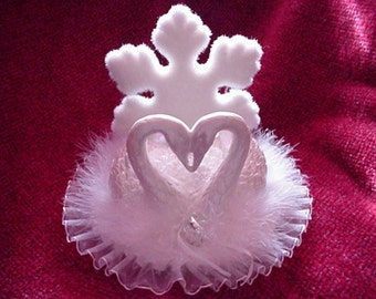 White Swan wedding cake topper  great for holiday wedding or anniversary