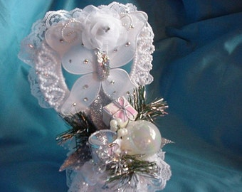 Winter Holiday Silver Butterfly Wedding Cake Topper