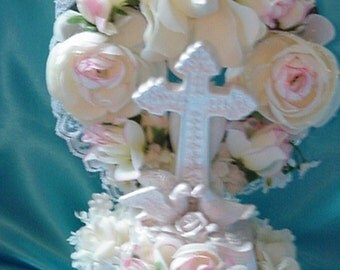 Spring  or Traditional  Wedding Cross Doves Wedding Cake Topper