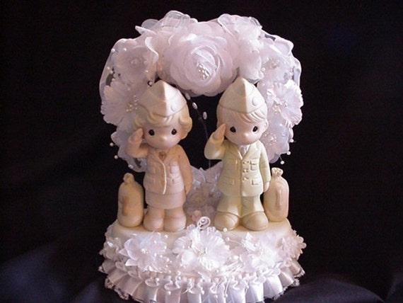 Military Army Bride Army Groom Wedding Cake Topper with Precious Moments figurines