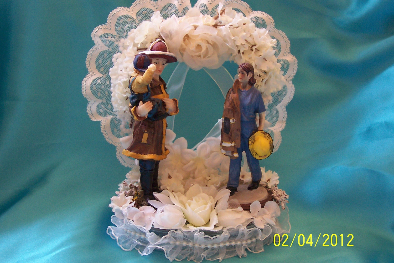 fireman wedding cake toppers