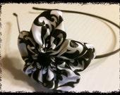 Pretty Damask Ribbon Flower Headband - Black and White