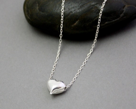Petite sterling silver heart necklace