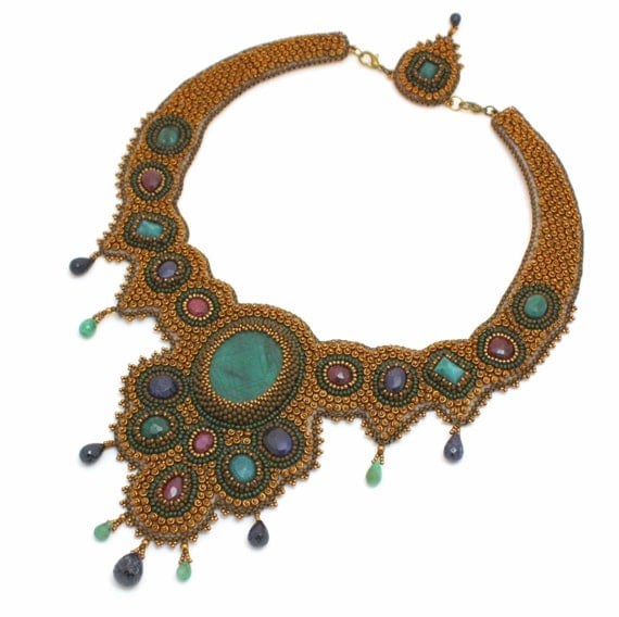Three bead embroidered statement necklaces - RESERVED for Simona