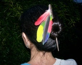 RASTA MAMMA FEATHER HAIRSTICK natural feathers and sterling bling