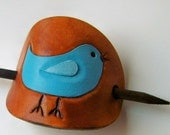 Tweet Bird Leather Barrette