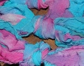 "Handpainted ""rag"" chiffon ribbon - Sweet Pea"