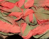 "Handpainted ""rag"" Silk chiffon ribbon 5 yards - Gerbera- new lower price"