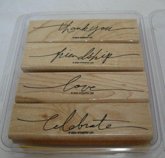 Stampin Up Wonderful Words Wood Mounted Rubber Stamp Set