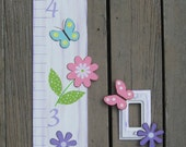Penelope Bird Growth Chart & Light Switch Cover - First Name Initial - Pottery Barn Kids Inspired