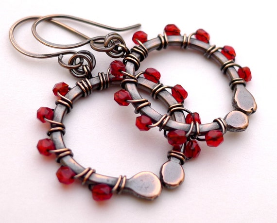 Oxidized Copper Earrings with Red Czech Glass Beads
