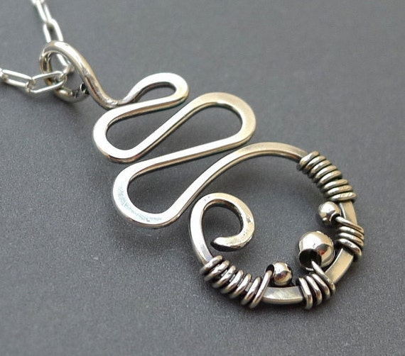 Sterling Silver Squiggle Necklace with Sterling Silver Beads