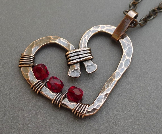 Copper Heart Necklace with Red Glass Beads Hammered and Oxidized
