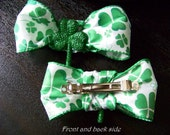 Rockabilly Irish Good Luck shamrock-Large Hair bow clip St. patricks day