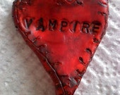 Vampire Love clay necklace pendant