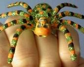 Large green glitter skull spider handpainted adjustable ring